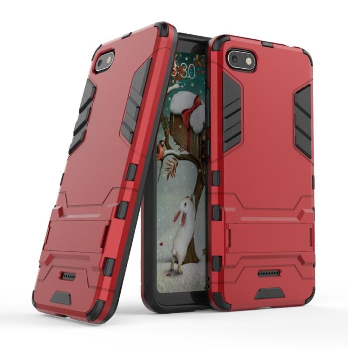 iPhone 6S Plus - Robotic Armor Case Cover Cas TPU Hoesje Rood + Kickstand
