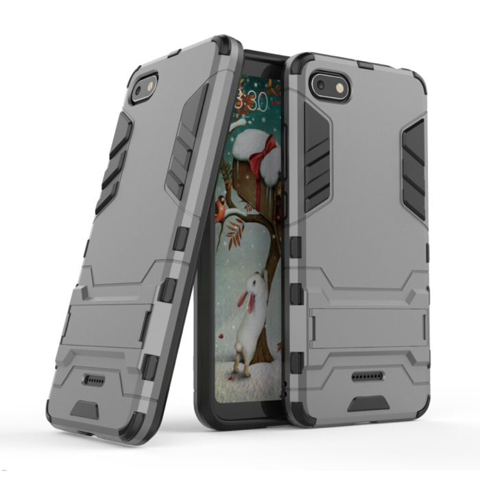 iPhone 7 Plus - Robotic Armor Case Cover Cas TPU Hoesje Grijs + Kickstand