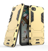 HATOLY iPhone 7 Plus - Robotic Armor Case Cover Cas TPU Hoesje Goud + Kickstand