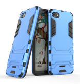 HATOLY iPhone 7 - Robotic Armor Case Cover Cas TPU Hoesje Blauw + Kickstand