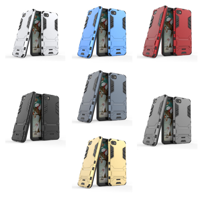 HATOLY iPhone 7 - Robotic Armor Case Cover Cas TPU Case Navy + Kickstand