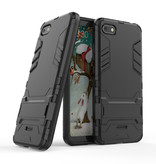 HATOLY iPhone 7 - Robotic Armor Case Cover Cas TPU Hoesje Zwart + Kickstand