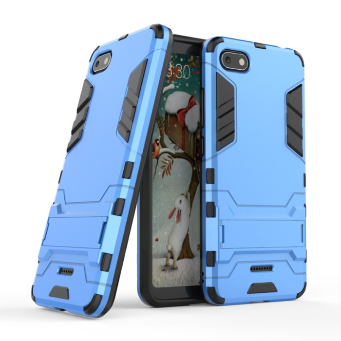 iPhone 8 Plus - Robotic Armor Case Cover Cas TPU Hoesje Blauw + Kickstand