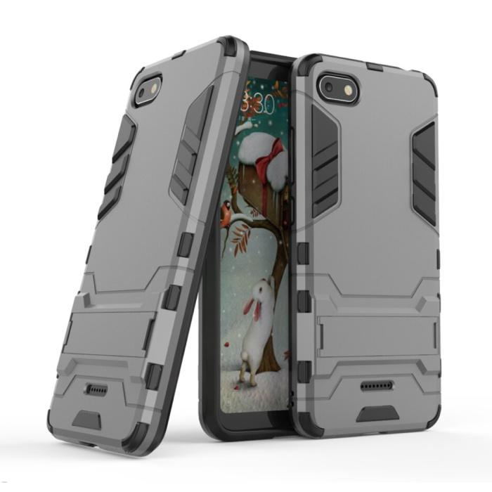 iPhone 8 Plus - Robotic Armor Case Cover Cas TPU Hoesje Grijs + Kickstand