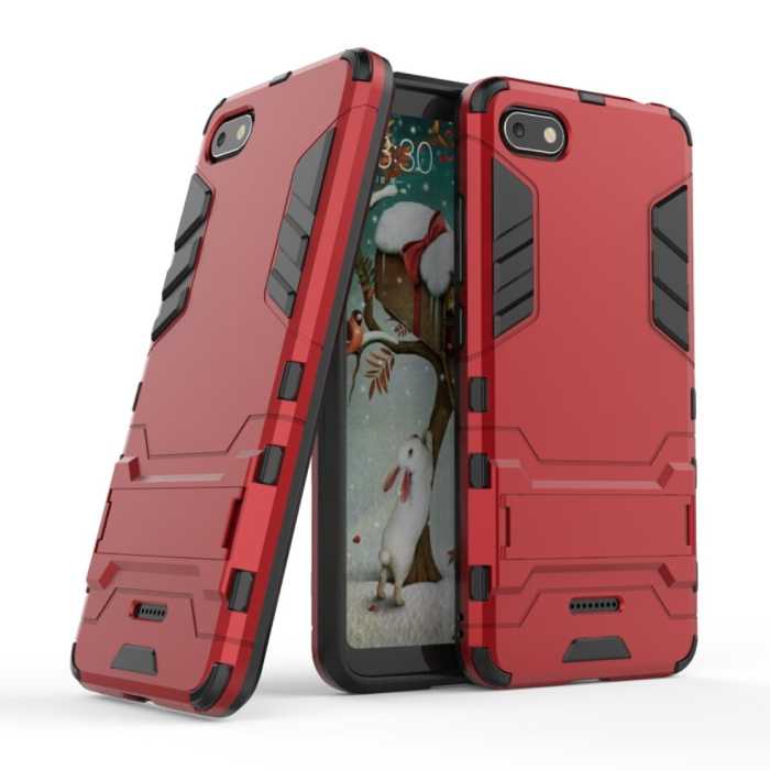 iPhone 8 Plus - Robotic Armor Case Cover Cas TPU Hoesje Rood + Kickstand