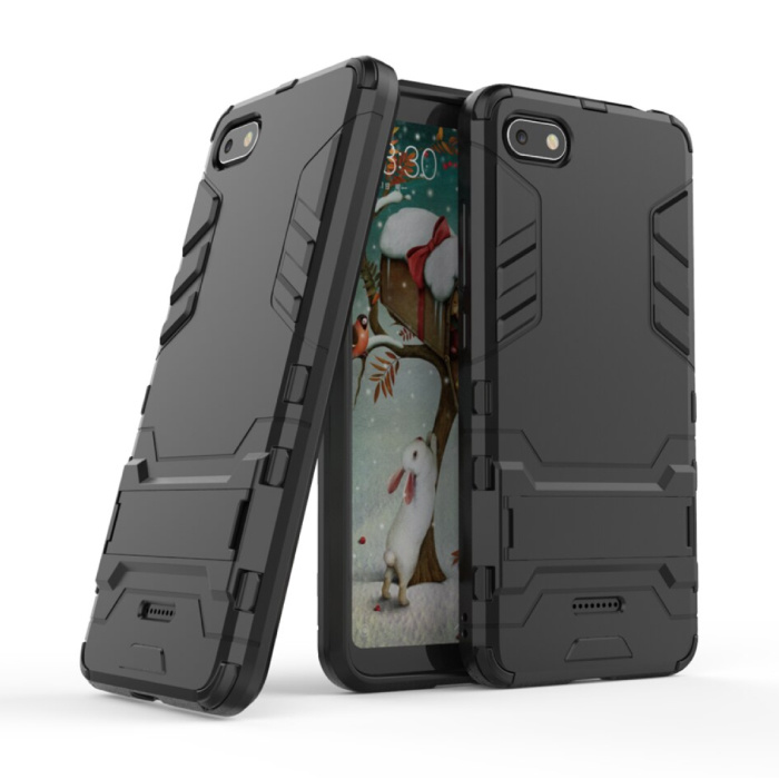 iPhone 8 Plus - Robotic Armor Case Cover Cas TPU Hoesje Zwart + Kickstand