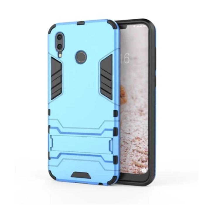iPhone XR - Robotic Armor Case Cover Cas TPU Hoesje Blauw + Kickstand