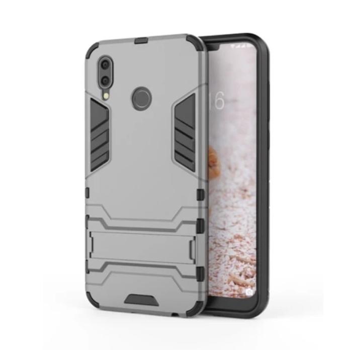 iPhone XR - Robotic Armor Case Cover Cas TPU Hoesje Grijs + Kickstand