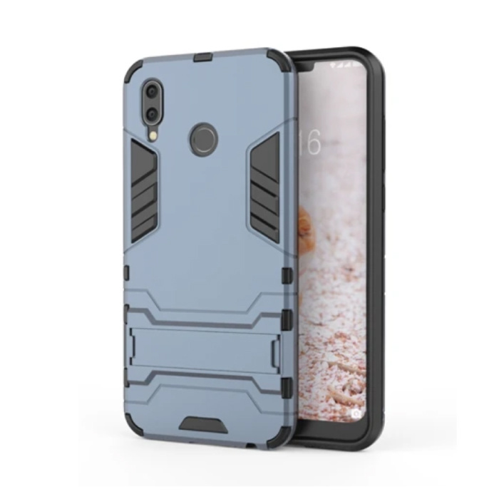 iPhone XR - Robotic Armor Case Cover Cas TPU Hoesje Navy + Kickstand