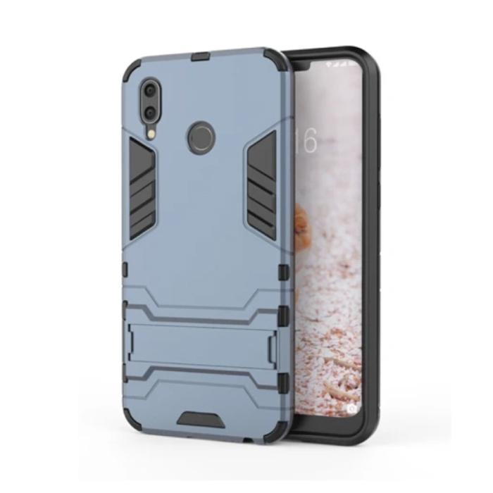 iPhone XR - Robotic Armure de couverture de cas Cas TPU marine + Béquille