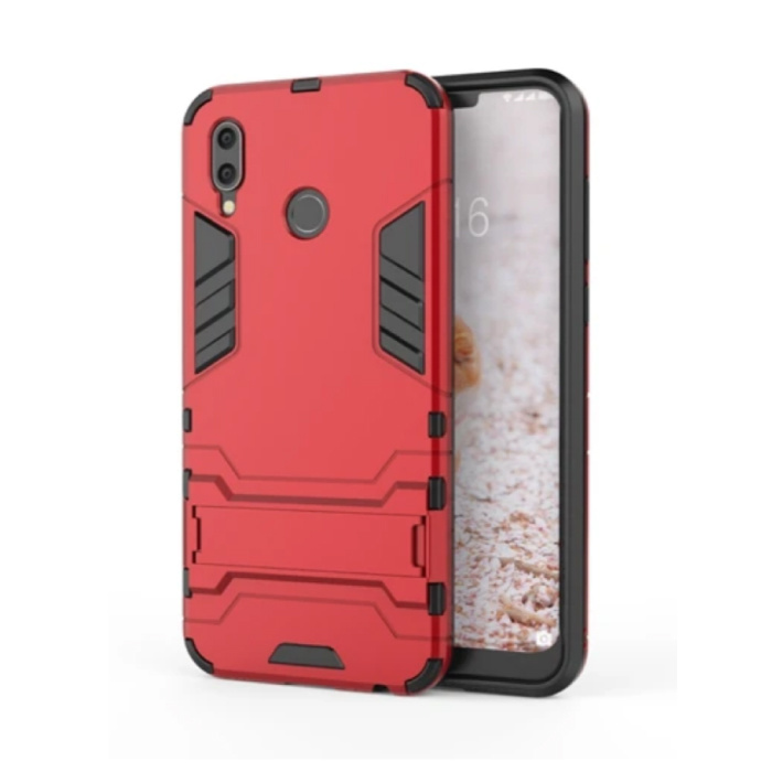 iPhone XR - Robotic Armor Case Cover Cas TPU Hoesje Rood + Kickstand