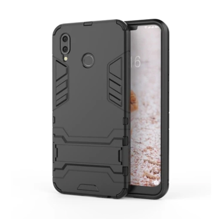 iPhone XR - Robotic Armor Case Cover Cas TPU Hoesje Zwart + Kickstand