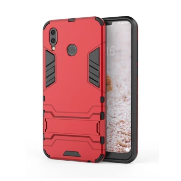 iPhone XS - Robotic Armor Case Cover Cas TPU Case Red + Kickstand