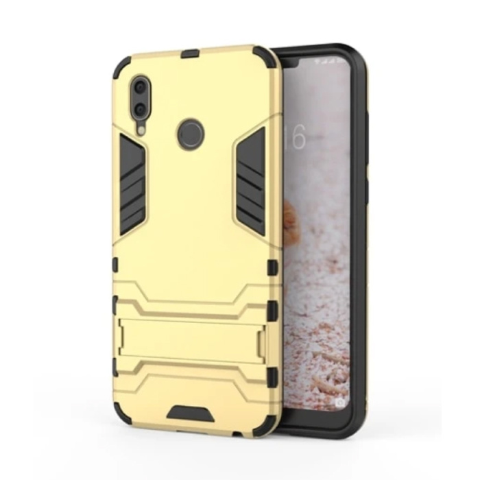 iPhone XS - Robotic Armor Case Cover Cas TPU Case Gold + Kickstand