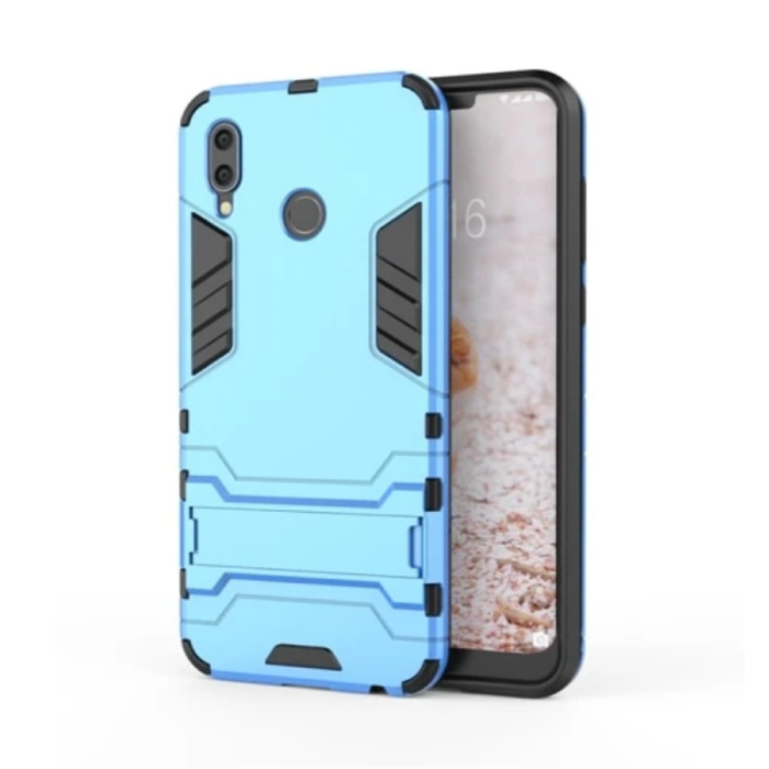 iPhone XS - Robotic Armor Case Cover Cas TPU Hoesje Blauw + Kickstand