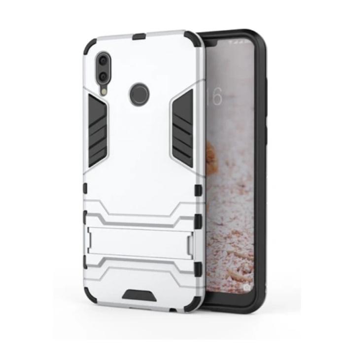 iPhone XS - Roboter-Rüstungshülle Hülle Cas TPU-Hülle Weiß + Ständer