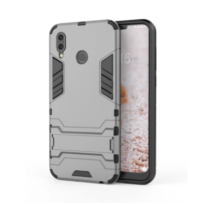 iPhone XS Max - Robotic Armor Case Cover Cas TPU Case Grey + Kickstand