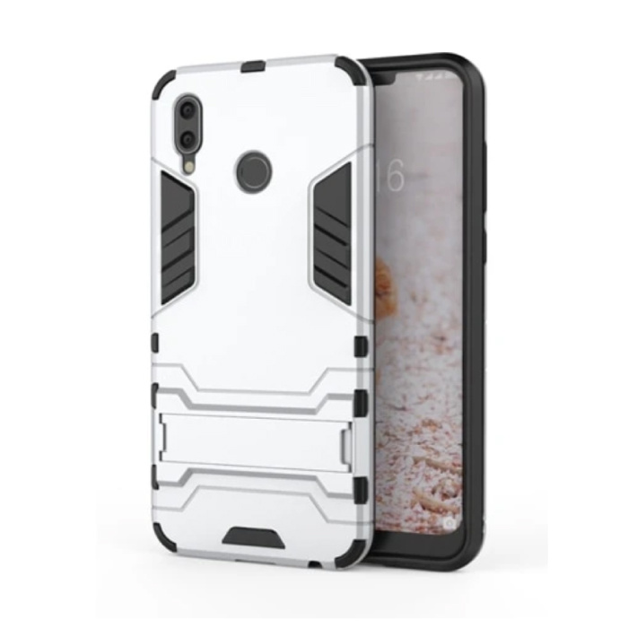 iPhone XS Max - Robotic Armor Case Cover Cas TPU Case White + Kickstand