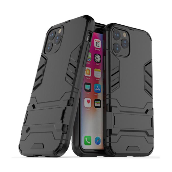 iPhone 11 Pro - Robotic Armor Case Cover Cas TPU Hoesje Zwart + Kickstand