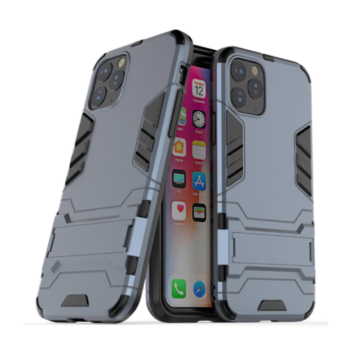 iPhone 11 Pro - Robotic Armor Case Cover Cas TPU Hoesje Navy + Kickstand