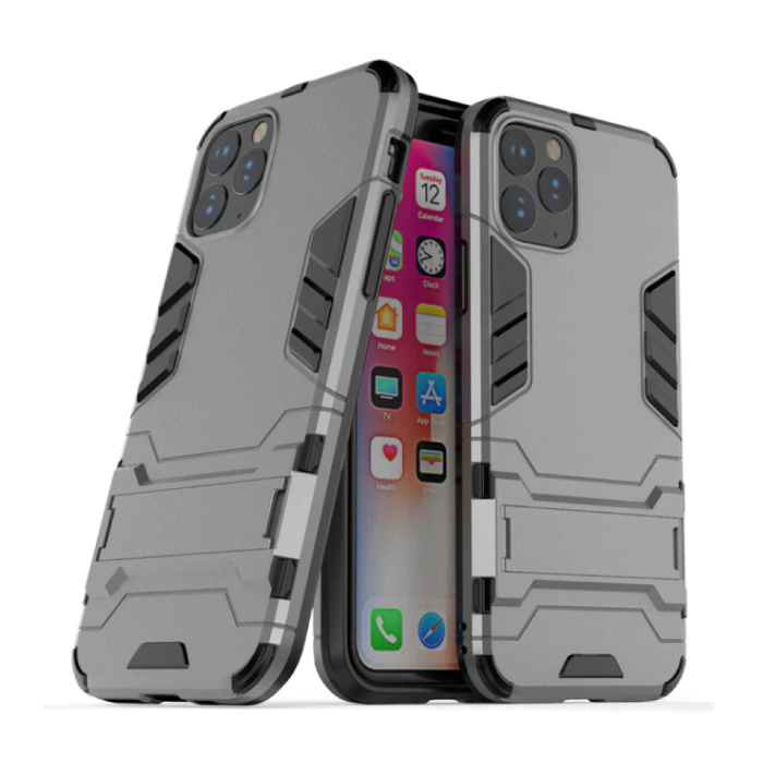 iPhone 11 Pro - Robotic Armor Case Cover Cas TPU Case Gray + Kickstand