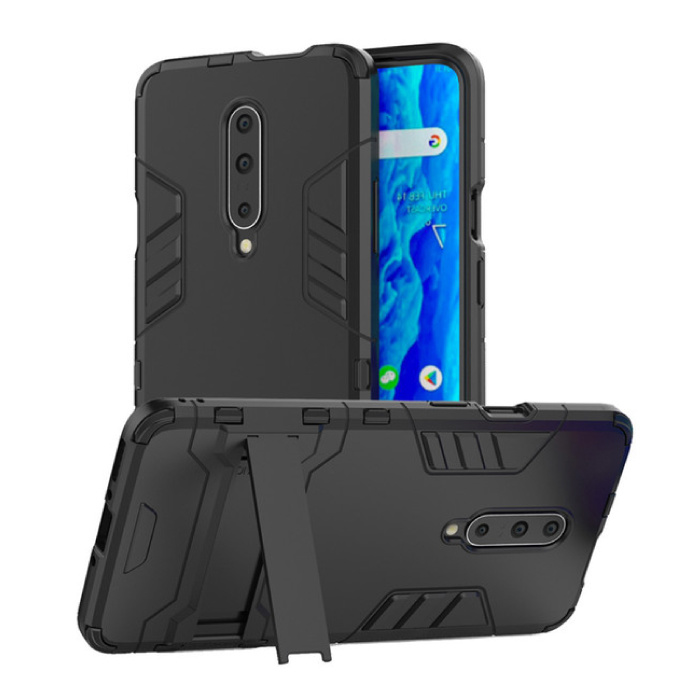 HATOLY iPhone 11 Pro Max - Robotic Armor Case Cover Cas TPU Hoesje Navy + Kickstand