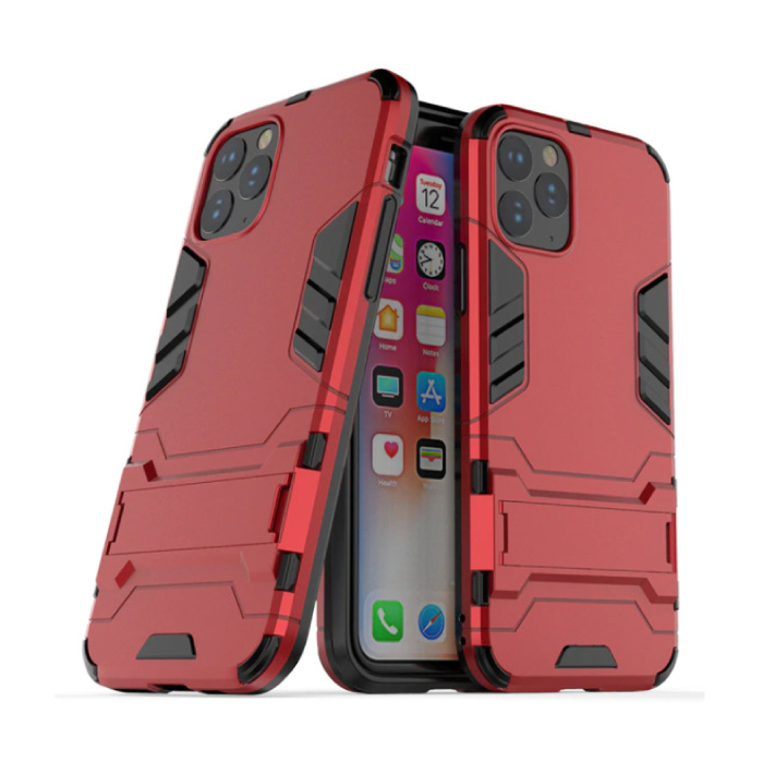 iPhone 11 Pro Max - Robotic Armor Case Cover Cas TPU Hoesje Rood + Kickstand