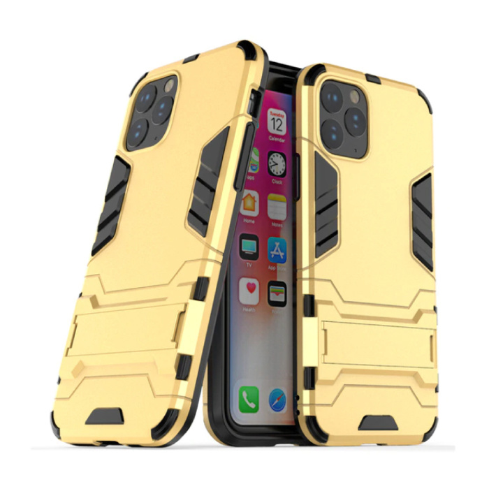 iPhone 11 Pro Max - Robotic Armor Case Cover Cas TPU Hoesje Goud + Kickstand