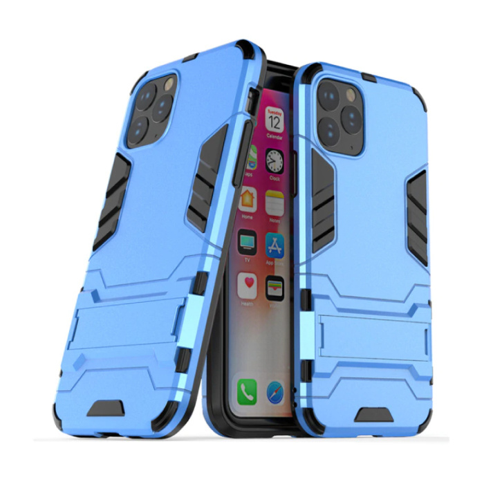 iPhone 11 Pro Max - Robotic Armor Case Cover Cas TPU Hoesje Blauw + Kickstand