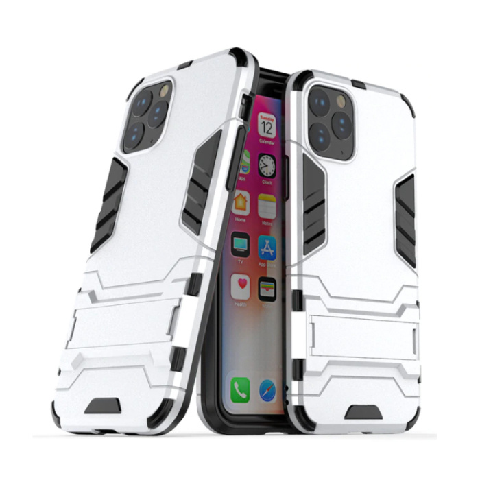 iPhone 11 Pro Max - Robotic Armor Case Cover Cas TPU Hoesje Wit + Kickstand
