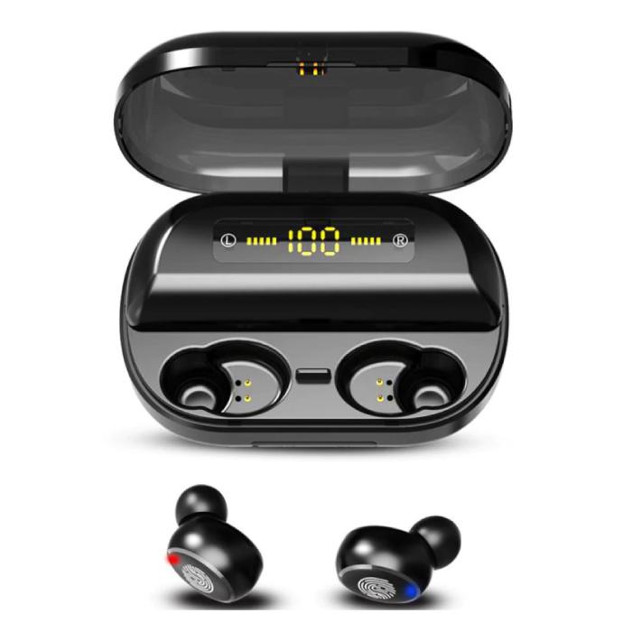 9D TWS Smart Wireless Touch Control écouteurs Bluetooth 5.0 sans fil Cosses Air écouteurs Earbuds 4000mAh Power Bank Noir