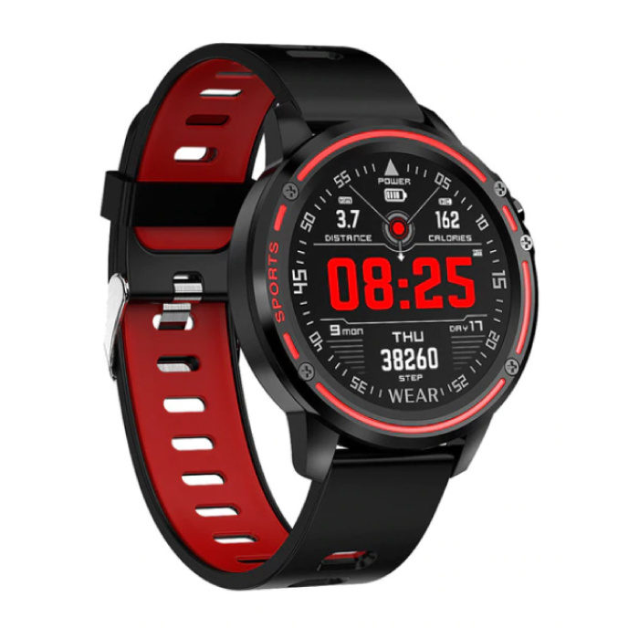 L8 Sports Smartwatch Fitness Sport Activity Tracker Smartphone Horloge iOS Android iPhone Samsung Huawei Rood