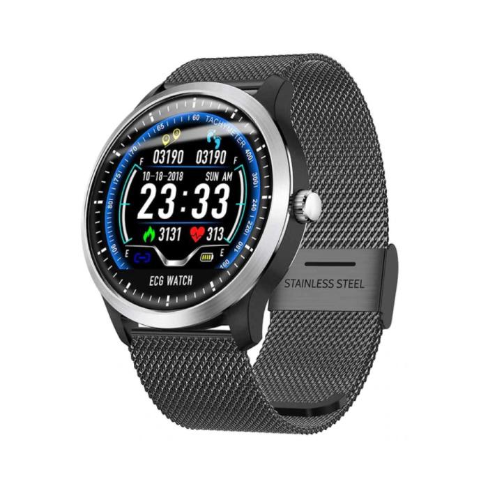 Montre intelligente de sport N58 ECG + PPG Fitness Tracker d'activité de sport Montre Smartphone iOS Android iPhone Samsung Huawei Black Metal