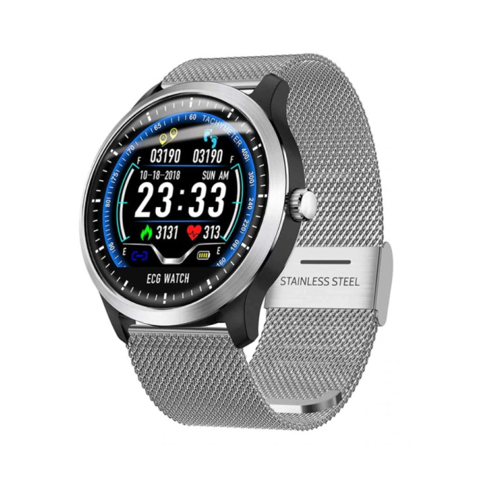 Montre intelligente de sport N58 ECG + PPG Fitness Tracker d'activité de sport montre Smartphone iOS Android iPhone Samsung Huawei argent métal