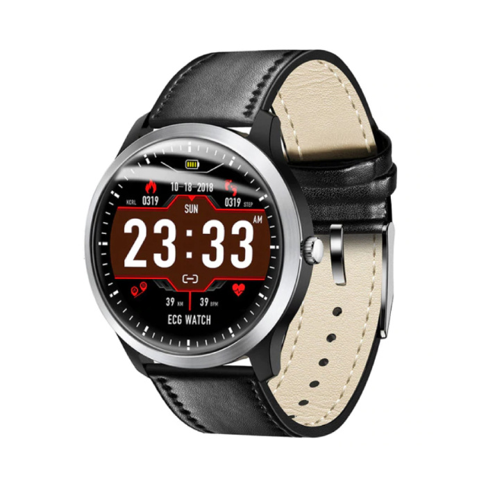 Sports Smartwatch ECG + PPG Fitness Sport Activity Tracker Smartphone Watch iOS Android iPhone Samsung Huawei Black Leather