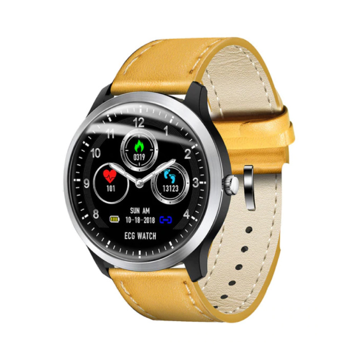 Sport Smartwatch ECG + PPG Fitness Sport Activity Tracker Montre Smartphone iOS Android iPhone Samsung Huawei Cuir Marron
