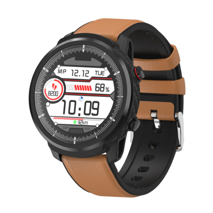 S10 Smartwatch Fitness Sport Aktivität Tracker Smartphone Uhr iOS Android iPhone Samsung Huawei Brown Leder