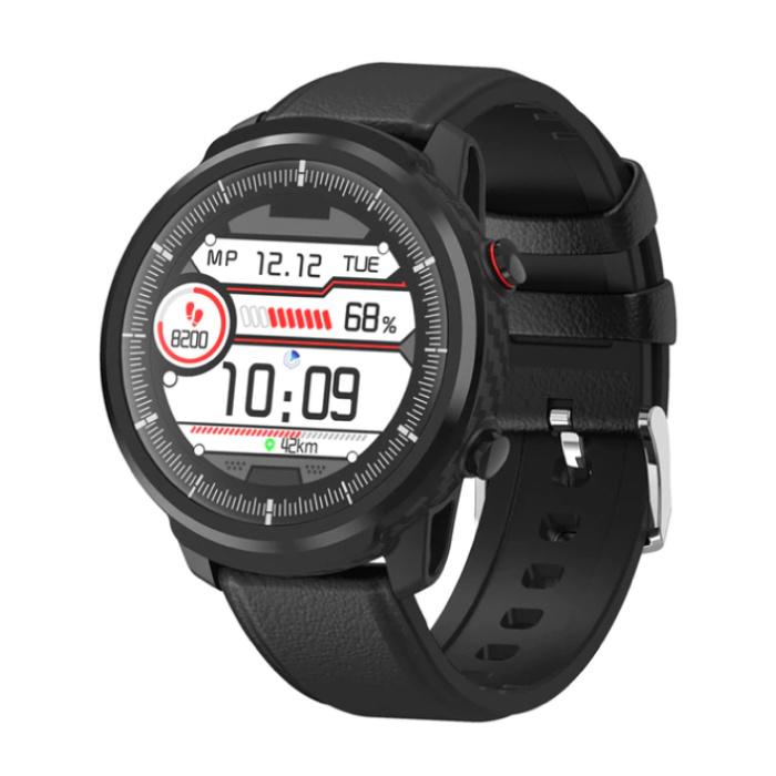 S10 Smartwatch Fitness Sport Aktivität Tracker Smartphone Uhr iOS Android iPhone Samsung Huawei Schwarzes Leder