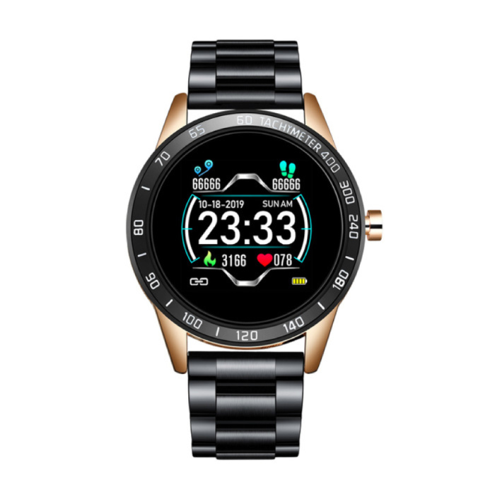 Sports Smartwatch Fitness Sport Activity Tracker Smartphone Watch iOS Android iPhone Samsung Huawei Gold Black