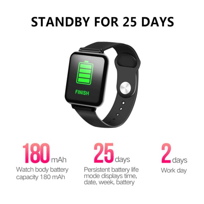 Stuff Certified® B57 Sport SmartWatch Fitness Sports Tracker Activité Moniteur de fréquence cardiaque montre Smartphone iOS iPhone Android Samsung Huawei Blanc
