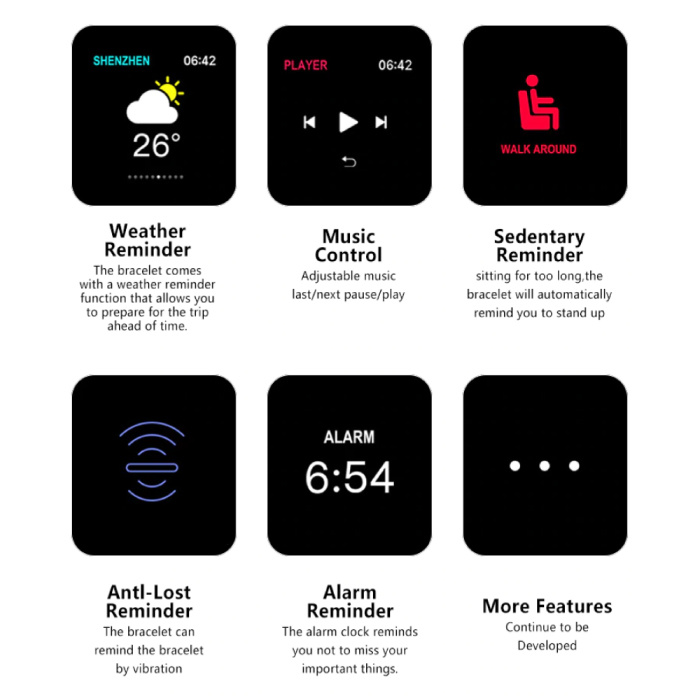 Stuff Certified® B57 Sport SmartWatch Fitness Sports Tracker Activité Moniteur de fréquence cardiaque montre Smartphone iOS iPhone Android Samsung Huawei Bleu