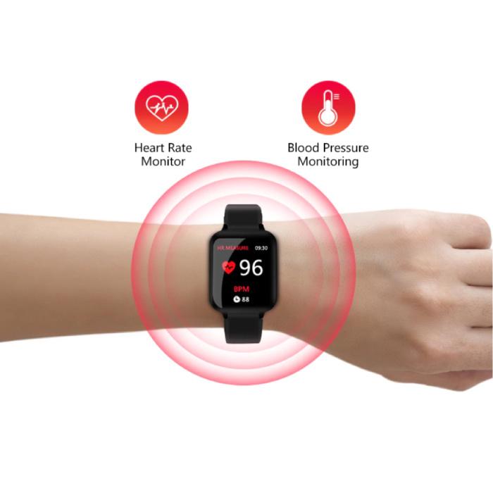 Stuff Certified® B57 Sports Smartwatch Fitness Sport Activity Tracker Hartslagmeter Smartphone Horloge iOS Android iPhone Samsung Huawei Roze