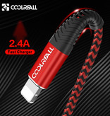 Coolreall Lightning USB Oplaadkabel Datakabel 1M Gevlochten Nylon Oplader iPhone/iPad/iPod Rood