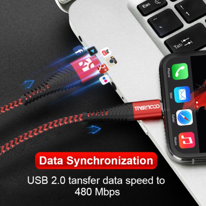 Coolreall Lightning USB Oplaadkabel Datakabel 2M Gevlochten Nylon Oplader iPhone/iPad/iPod Rood