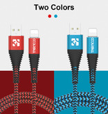 Coolreall Foudre USB Cable de charge 2M Nylon Tressé Chargeur iPhone / iPad / iPod rouge