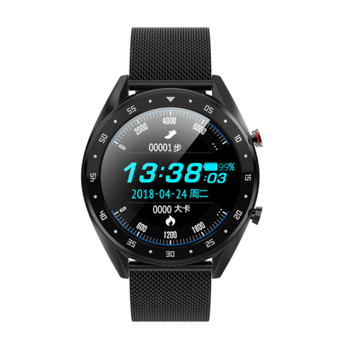 Sports Smartwatch Fitness Sport Activity Tracker Smartphone Horloge iOS Android iPhone Samsung Huawei Zwart Metaal
