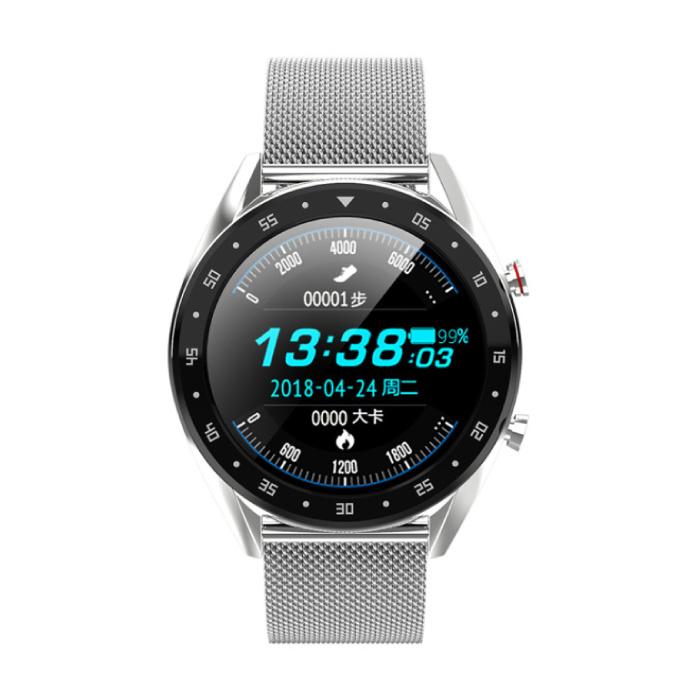 Sport Smartwatch Fitness Sport Activity Tracker Montre Smartphone iOS Android iPhone Samsung Huawei Argent Métal