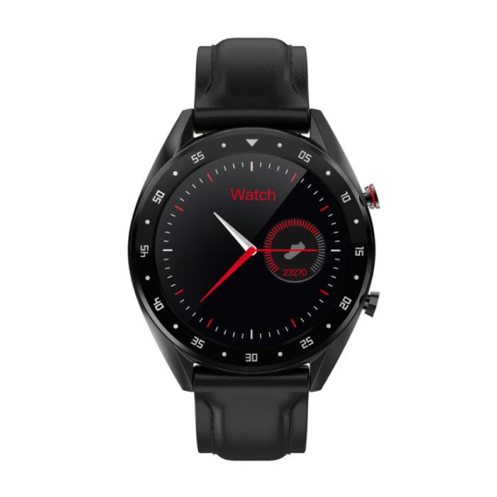 SmartWatch Sport Fitness Sport Activité Tracker Smartphone Regarder iOS iPhone Android Samsung Huawei en cuir noir
