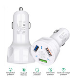 AIXXCO Qualcomm Charge rapide 3.0 Triple Port Car Charger / Carcharger - Blanc