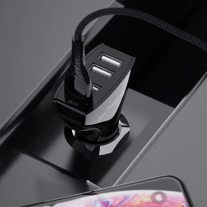 Ykz Qualcomm Charge rapide 3.0 Port voiture Chargeur Quad / Carcharger - Noir